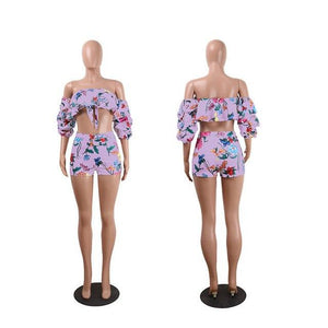 New 2018 Summer Floral Print Shorts Set Women 2 Piece Set Fashionwwetoro-wwetoro