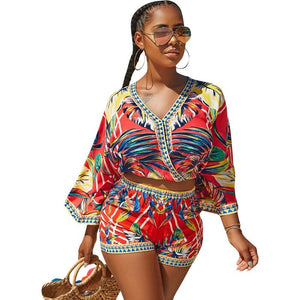 Bohemian Floral Print Beach Two Piece Set Women 2018 Summer Sexy Cropwwetoro-wwetoro