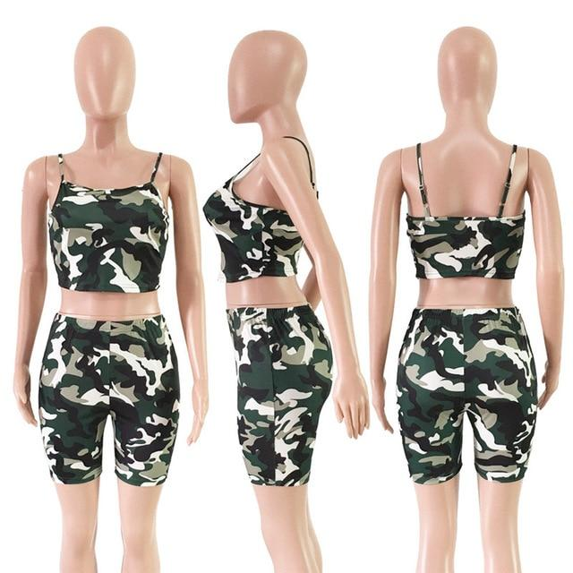 Print Camo Sweat Suits Two Piece Set Women Summer Beach Outfits Cropwwetoro-wwetoro