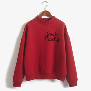 Just Peachy Crewneck Sweatshirt Winter Women Cute Pink Sweatshirts Women Print Hoodywwetoro-wwetoro