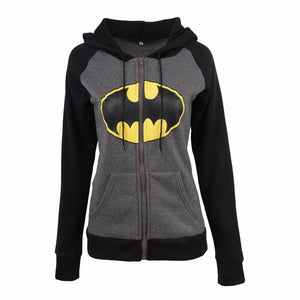2018 Women's Hoodies Batman Printed Sweatshirts With Zipper Autumn Winter Female Casualwwetoro-wwetoro