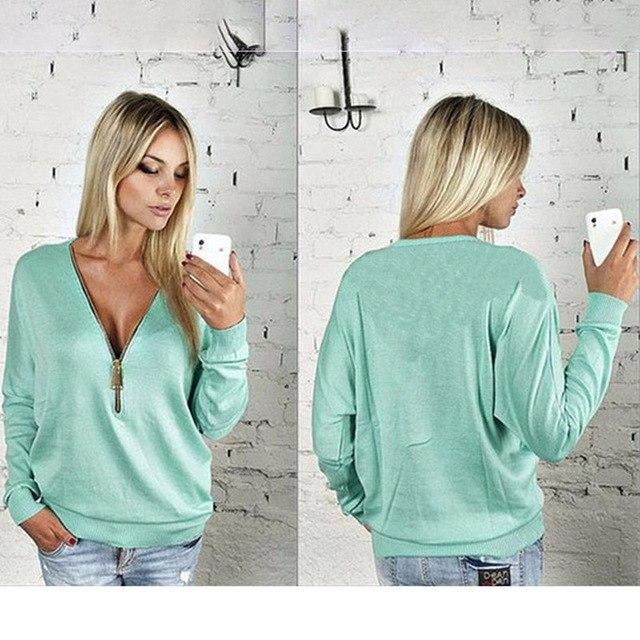 2017 Women's Long Sleeve Hoodies Sexy Deep V Neck With Zipper Sweatshirtwwetoro-wwetoro