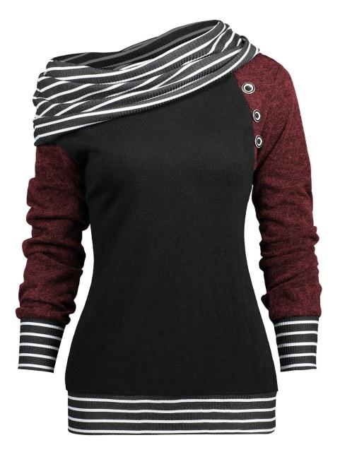 Spring Autumn Stripe Patchwork Women Sweatshirts 5 Colors Long Sleeves Casualwwetoro-wwetoro