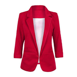 Open Front Notched Blazer 2018 autumn Women Formal Jackets Office Work Slimwwetoro-wwetoro