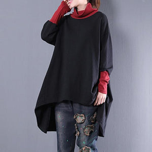 mydeshop Women Pullover Hoodies Sweatshirt Sweater Color Block Long Sleeve Tops