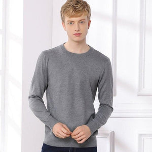 Men O-Neck Wool Cashmere Blended Sweater Pullover Mens Basic Sweaters Male Roundneckwwetoro-wwetoro
