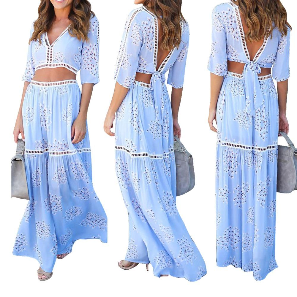 Bohemian Style Women Two Piece Set Sexy Backless Chiffon Bandage Dress V-Neckwwetoro-wwetoro