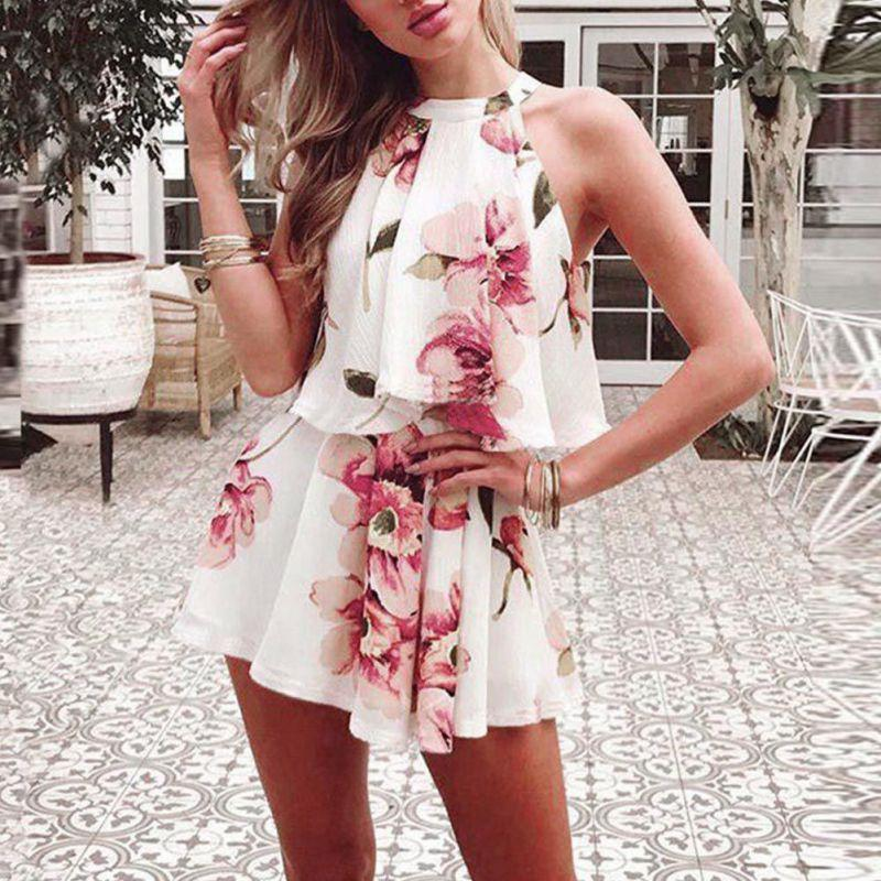 Summer Sexy Halter Sets For Women Off Shoulder Floral Printed Chiffon Twowwetoro-wwetoro