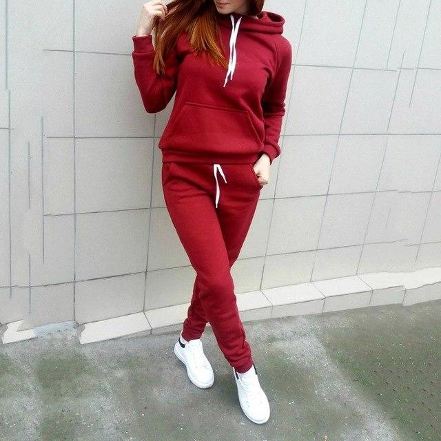 Women Casual Autumn Tie Suit 2pcs Set Women tracksuits Female Fleecewwetoro-wwetoro