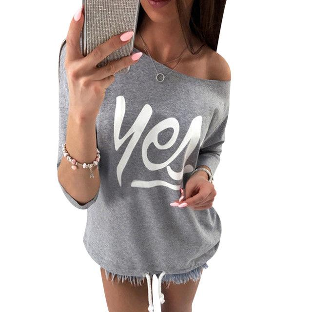 New Women Hoodies Casual Candy Color One Shoulder Printing Sweatshirt Spring Autumnwwetoro-wwetoro