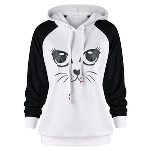 Kawaii Cat Printed Hoodie Women's Long Sleeve Sweatshirt Harajuku Cat Earswwetoro-wwetoro