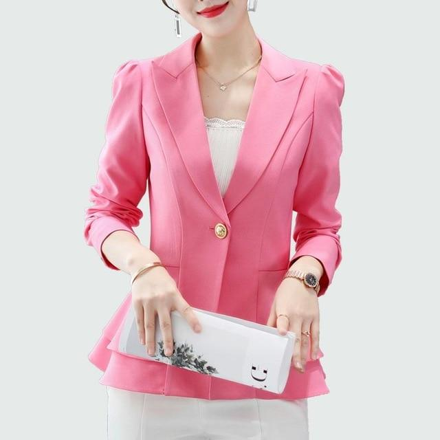 Elegant Ruffles Blazers Coat Wine Red Women Blazer 2018 Autumn New Officewwetoro-wwetoro