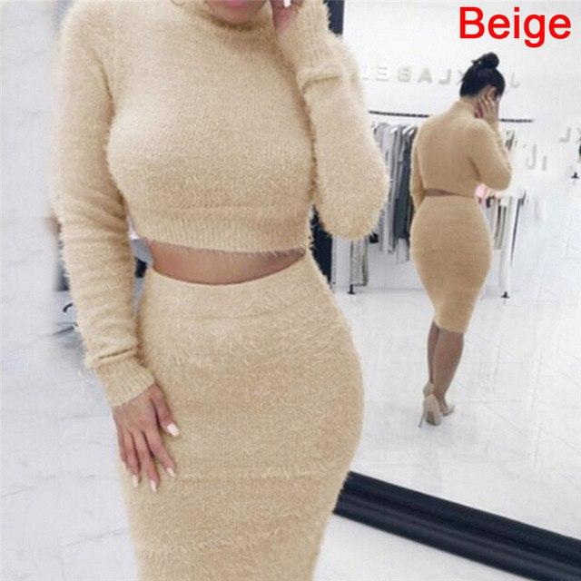 autumn 2pcs Set Women Bandage Suit Long Sleeve Fleece Crop Top Pencilwwetoro-wwetoro