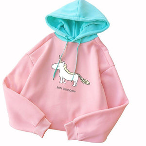 2018 Kawaii Unicorn Print Hooded Autumn Winter New Fashion Women Casual Longwwetoro-wwetoro