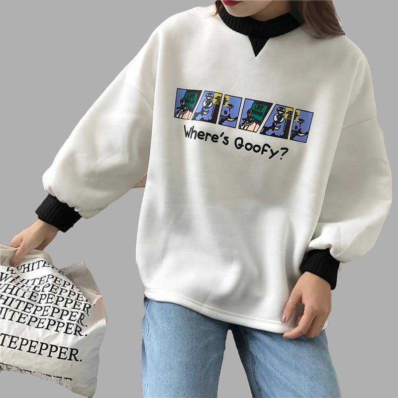 2018 New Women Cute Hoodies Sweatshirts Crew Neck Clothing Feminina Spring Loosewwetoro-wwetoro