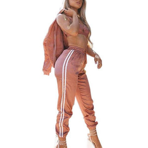Women Sets Side Stripe Long Sleeves Zipper Corp Top Calf-length Pantsuit Femalewwetoro-wwetoro