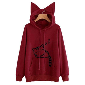 Women Sweatshirts Cute Cat Print Cat Ear Kawaii Hoodies Casual Long Sleevewwetoro-wwetoro