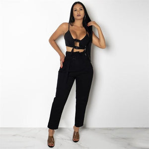 Orange Casual Sexy 2 Piece Set Women Buckle Backless Strap Cropwwetoro-wwetoro