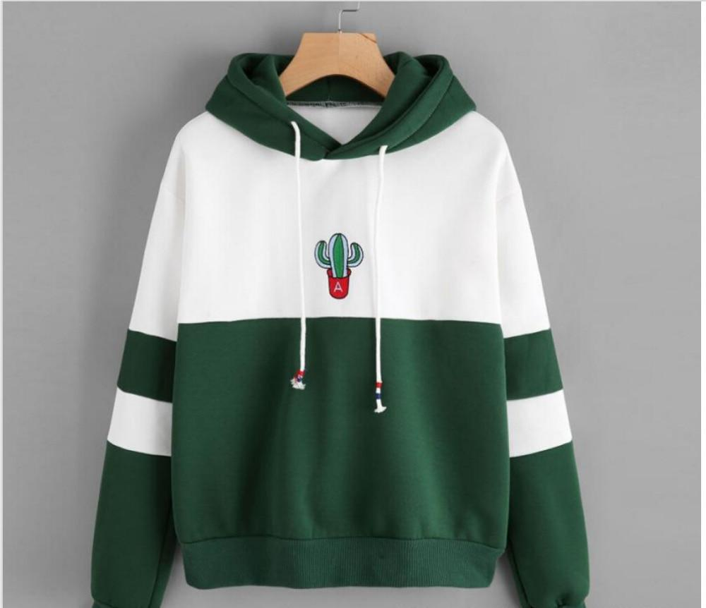 Women Long Sleeve Pullover Hooded cactus printed Sweatshirt Casual Winter hoody hoodieswwetoro-wwetoro