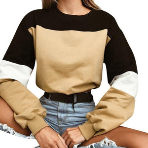2018 New Autumn Winter Women Sweatshirts O-neck Long Sleeve Patchwork Short Pulloverwwetoro-wwetoro