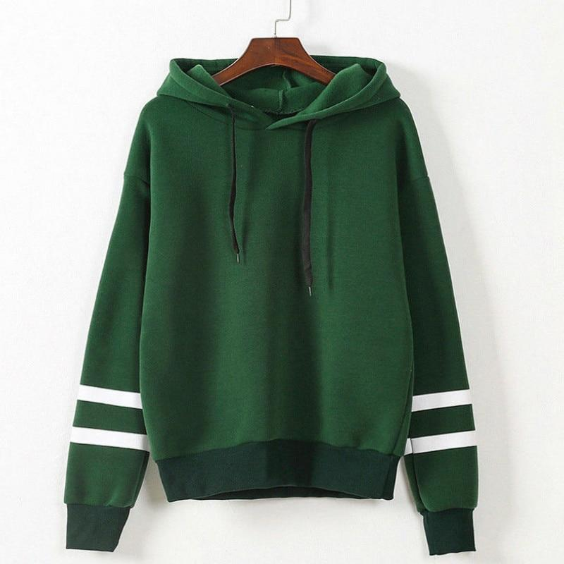 Hot Sale Girls Hoodies Long Sleeve Hooded Sweatshirt Striped decoration Womenwwetoro-wwetoro