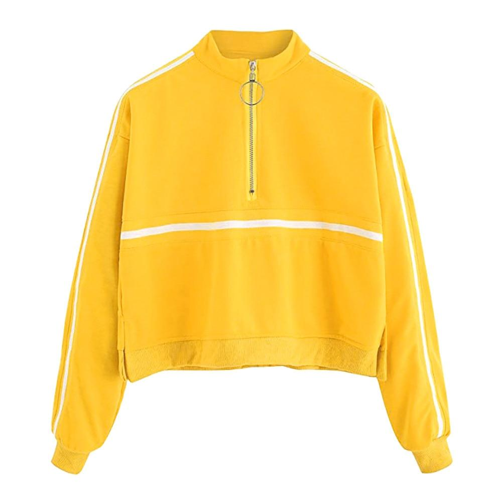 FeiTong Simple Sweatshirt 2018 Autumn Yellow Women Turtleneck Pullovers Long Sleeve Casualwwetoro-wwetoro