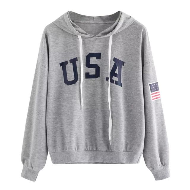 USA Print letter National Flag Hoodies Women 2018 Female Sweatshirts Pullover Warmwwetoro-wwetoro