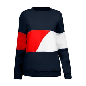 Women hoodies Winter clothes Casual Color Block Long Sleeve Pullovers Sweatshirtwwetoro-wwetoro
