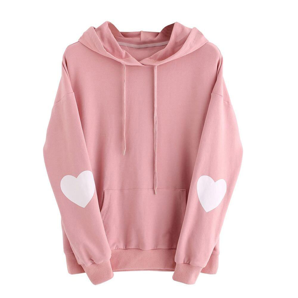 3 Color Women Hoodies Long Sleeve Shirt Heart Printed Pink Girls Sweatshirtwwetoro-wwetoro