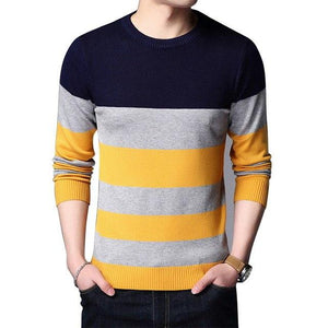 Brand Casual Sweater Men Fashion Striped Patchwork Slim Fit Pollover Menswwetoro-wwetoro