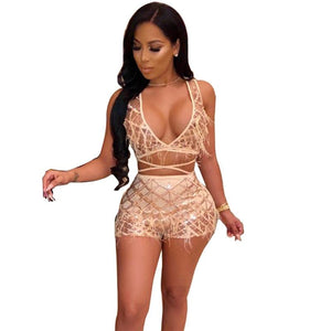 Sexy 2 Piece Set Women 2018 Fashion Feather Patchwork Sequin Crop Topwwetoro-wwetoro