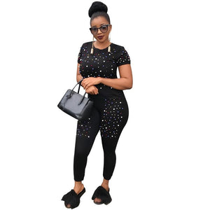 Two Piece Tracksuit Women Fashion Pearls Beading Two Piece Set Top andwwetoro-wwetoro
