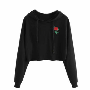 Short Black Hoodie Sweatshirt For Women Vogue Rose Flower Embroidery Pullovers Ladieswwetoro-wwetoro