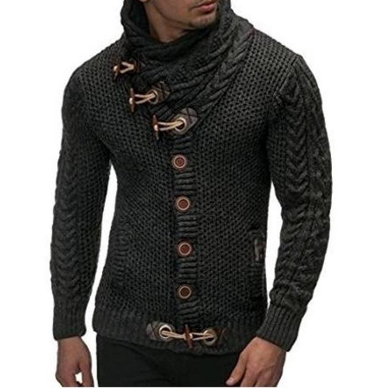 Black Cardigan Sweater Coat Men Autumn Fashion High Neck Sweaters Casual Warmwwetoro-wwetoro