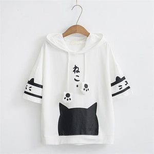 2018 Spring Summer New Women's Loose Hoodies Large Size Cute Cartoon Catwwetoro-wwetoro