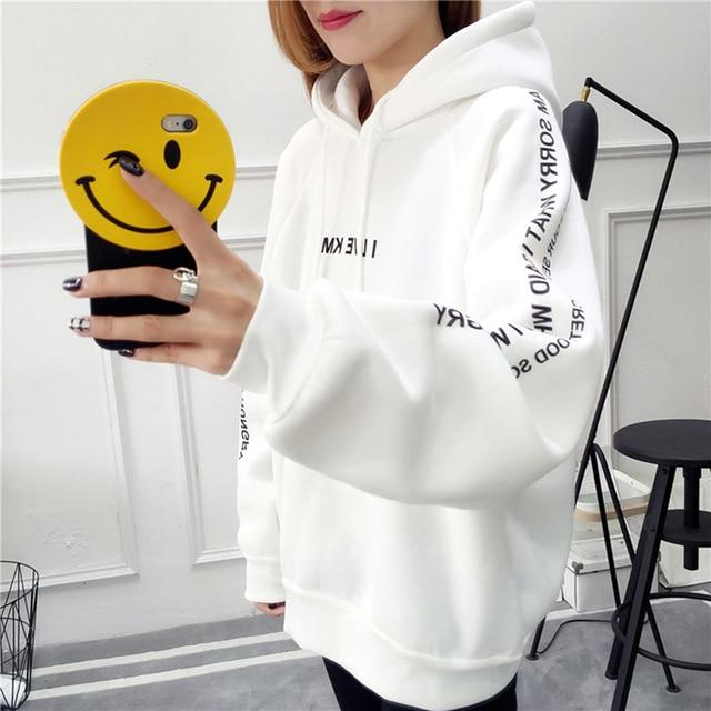 Harajuku Letters Printed Casual Hooded Hoodies Pullover Women Autumn Thick Loose Sweatshirtwwetoro-wwetoro