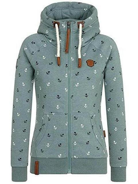Autumn women hoodie plus size zipper print hat high collar warm jacketwwetoro-wwetoro