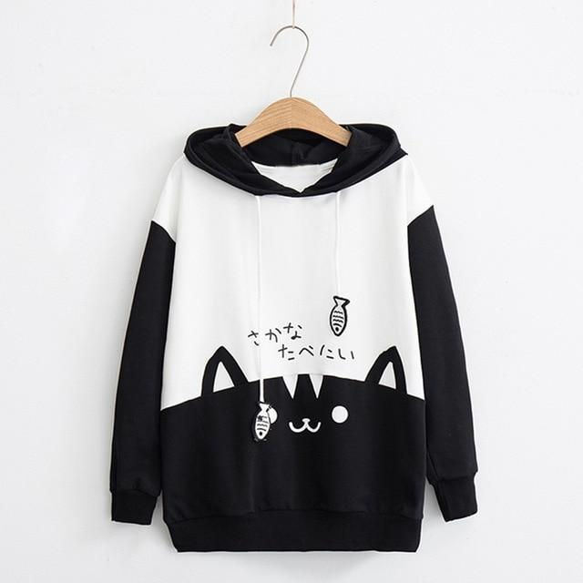 2018 autumn women fashion Casual Long Sleeve Kitty Cat Print Pocket DrawstringThinwwetoro-wwetoro