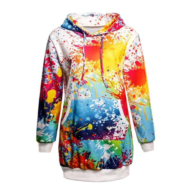 Sweatshirt Hoodies Women Fashion Womens Colorful Tie dyeing Print Sweatshirt Hooded Overcoatwwetoro-wwetoro