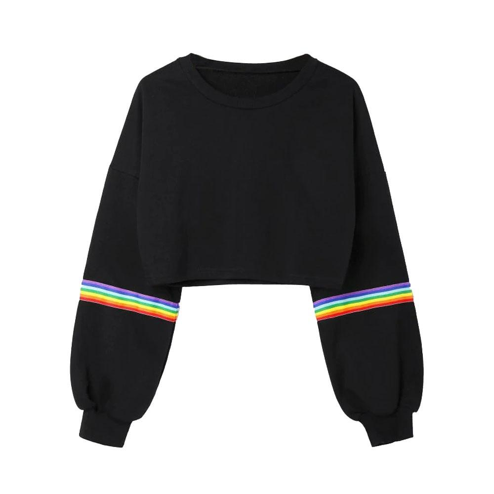 Hip Hop Short Hoodies Women Long Sleeve Sweatshirt Striped Crop Tops Ladywwetoro-wwetoro