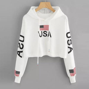 Feitong Woman Hoodie Crop Top USA Flag Print Harajuku Dancer Streetwear wwetoro-wwetoro