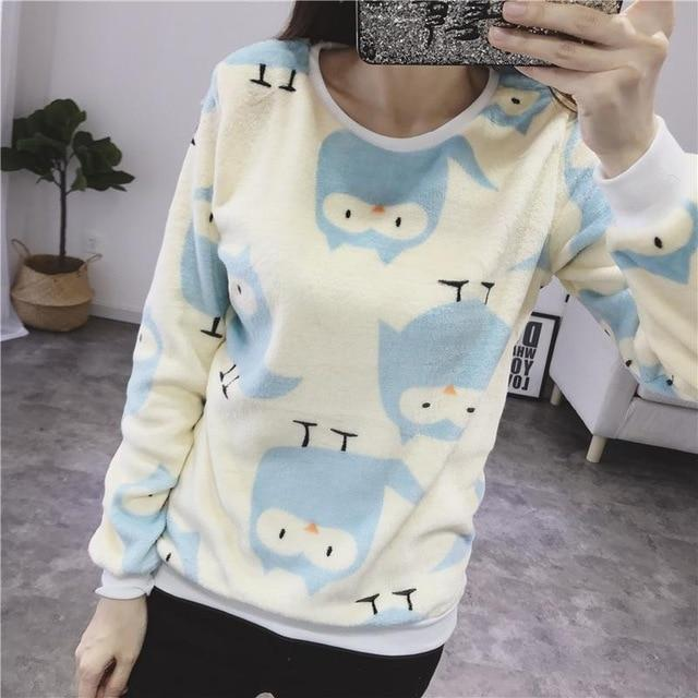 Cartoon Owl Hoodies Women Autumn Harajuku Hip Hop Sweatshirt Girls Fashionwwetoro-wwetoro