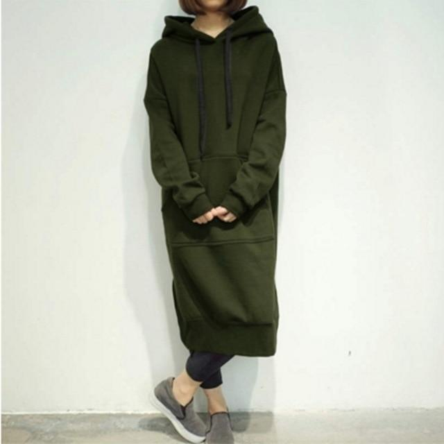 Women's Casual Loose Long Hoodies Sweatshirt Outerwear Jacket Tunic Coat Dresswwetoro-wwetoro