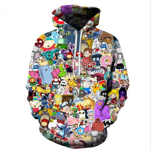ISTider Harajuku Anime Cartoon Hoodies Adventure Time/Totoro/Pokemon Kawaii Clothes 3D Hooded Sweatshirtwwetoro-wwetoro