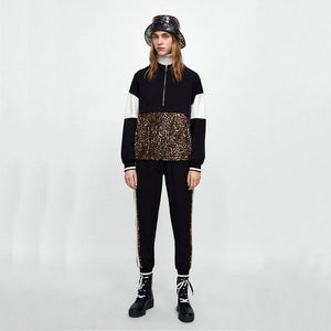 New Women Leopard Stiching Casual Hooded Sweatershirts Loose Fashion Long Sleeve Coolwwetoro-wwetoro