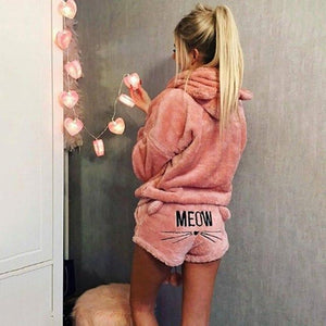 Women Warm Coral Velvet Suit Two Piece Autumn Winter Pajamas Sleepwear Hoodieswwetoro-wwetoro