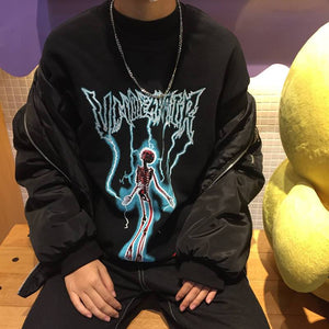 Harajuku Japanese Sweatshirt Women Men Clothes Fleece Black Hoodies Letter Printwwetoro-wwetoro