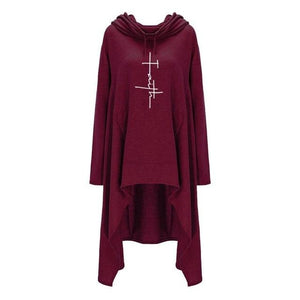 2018 New Fashion Faith Print Sweatshirts Hoodies Femmes Women Female Girls Patternwwetoro-wwetoro