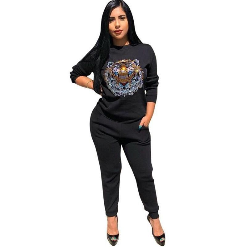 Autumn Winter Tracksuit Women Set Rhinestone Tiger Animal Print Sweatshirt Lounge Sweatwwetoro-wwetoro