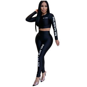 Autumn Women 2 Pieces Set Long Sleeve Crop Tops And Long Pantswwetoro-wwetoro